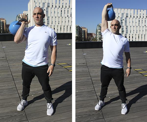 ejercicios con pesas rusas dos tiempos