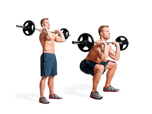 rutina de piernas para gym sentadilla barra frontal