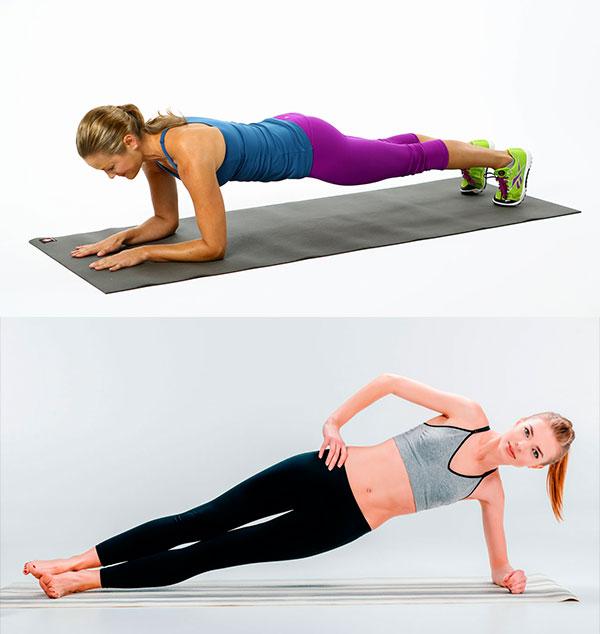 ejercicios de abdomen para mujeres plancha frontal lateral